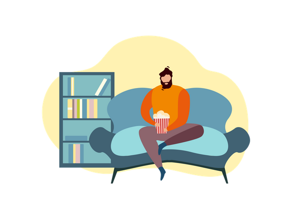 Man eating popcorn while seating on couch Illustration