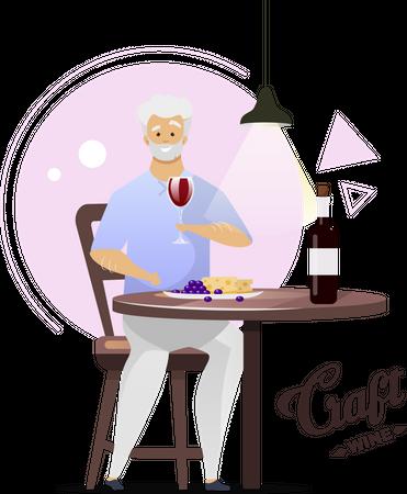 Man enjoying glass of wine Illustration