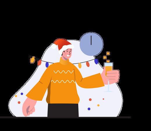 Man Enjoying in Christmas party Illustration