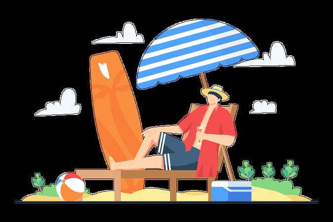 Man enjoying Summer holiday at the beach Illustration