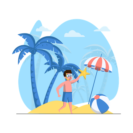 Man enjoying summer vacation Illustration