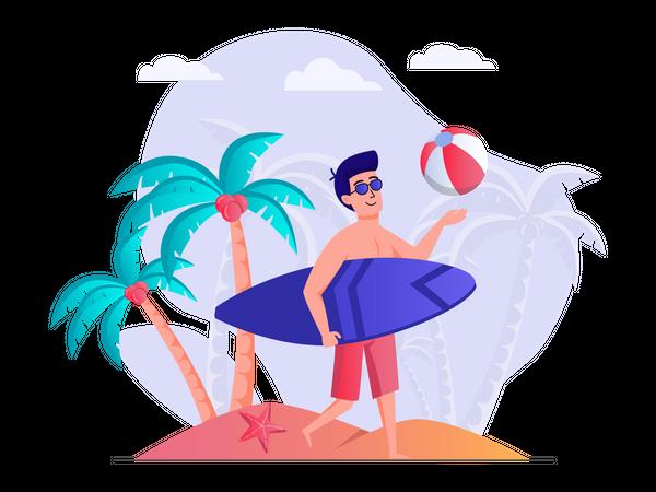 Man enjoying surfing at beach Illustration