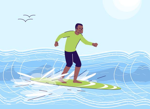Man enjoying water surfing Illustration