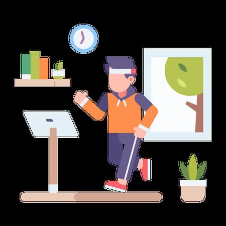 Man exercising on treadmill at home Illustration