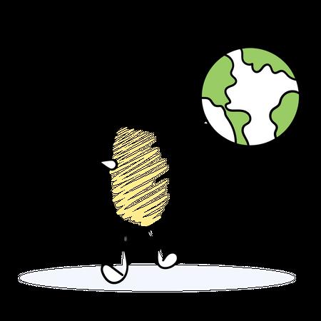 Man expanding his business worldwide Illustration