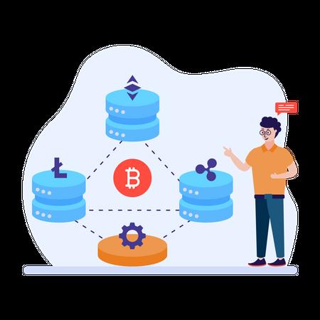 Man explaining blockchain technology Illustration