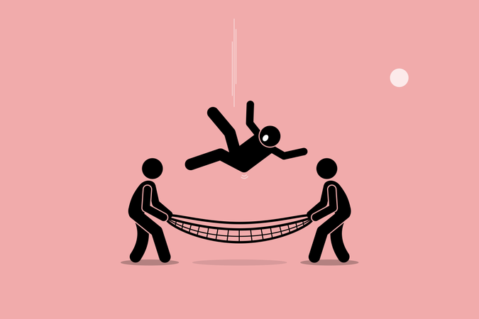 Man falling down and saved by people using safety net at the bottom of the ground Illustration