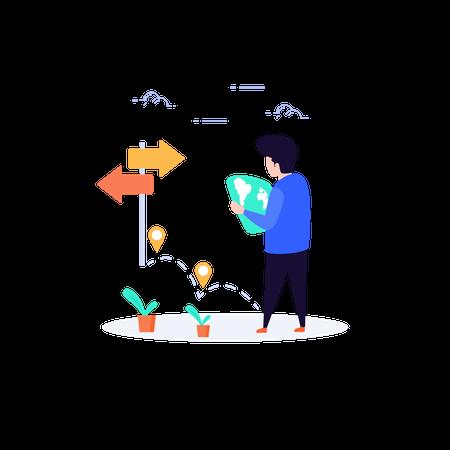 Man find direction to reach destination Illustration