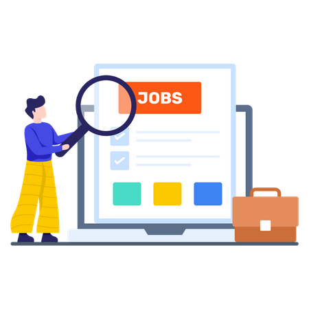 Man Finding job online Illustration