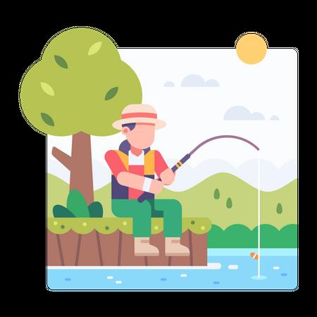 Man fishing at the pond Illustration