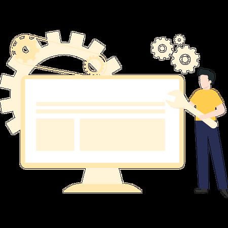 Man fixing bugs on website Illustration