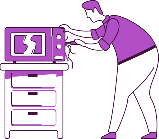 Man fixing microwave Illustration