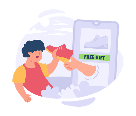 Man get free shoes gifts Illustration