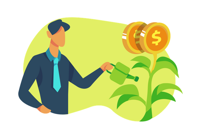 Man getting profit from investment Illustration