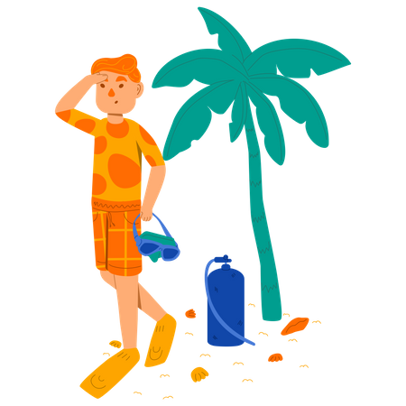 Man getting ready for Scuba diving Illustration