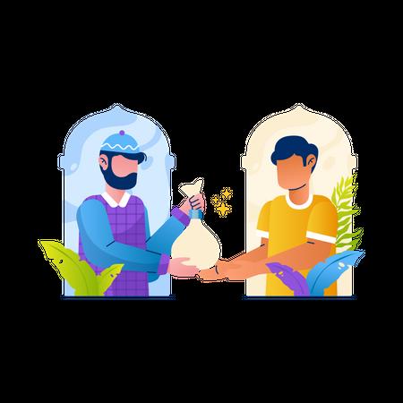 Man give zakat during Ramadan Illustration