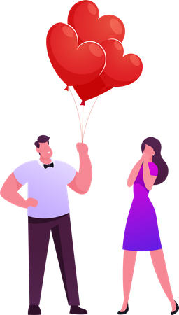 Man Gives Bunch of Balloons to Woman Illustration