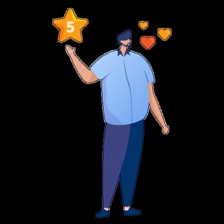 Man giving 5 star rating Illustration