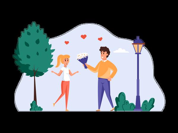 Man giving bokeh to girl Illustration