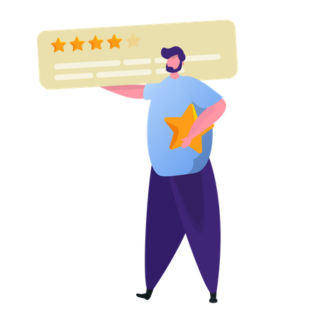 Man giving five star rating Illustration