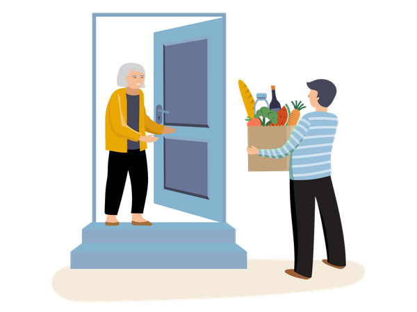 Man giving groceries to old woman Illustration