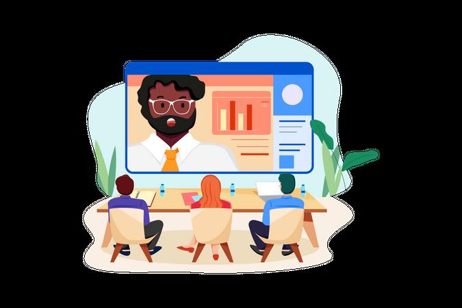 Man giving online presentation Illustration