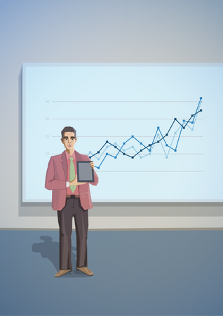 Man giving presentation Illustration