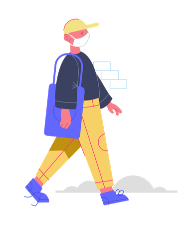 Man going for shopping with face mask Illustration