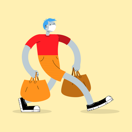 Man going for shopping with wearing facemask Illustration