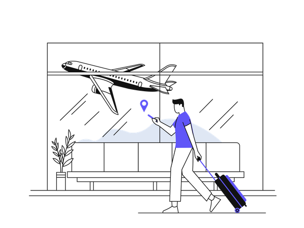 Man going for vacation Illustration