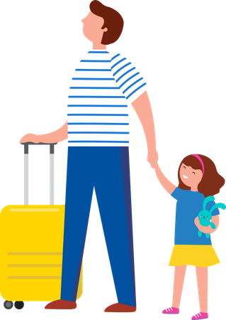 Man going on tour with his daughter Illustration