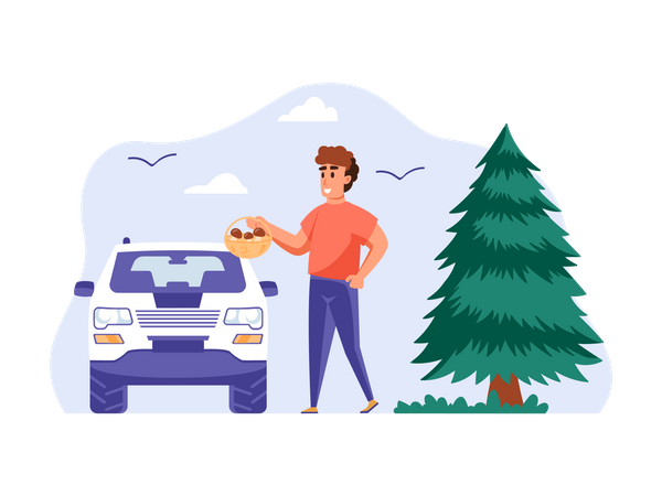 Man going on vacation Illustration