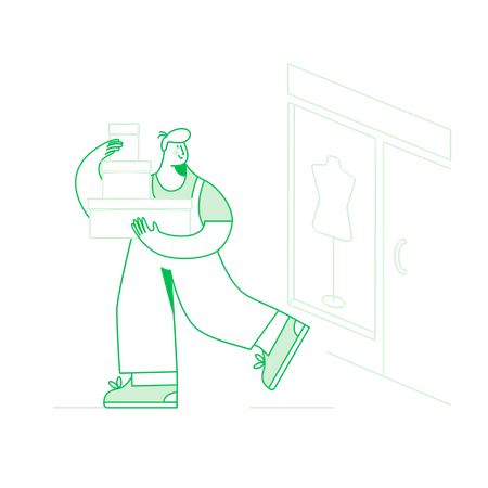 Man going to delivery mail Illustration