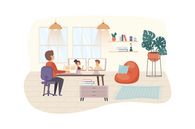 Man having video call meeting with colleagues or friends Illustration