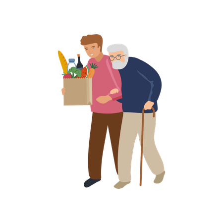 Man helping old man with grocery bag Illustration
