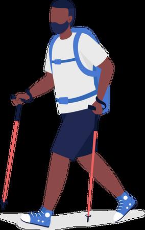 Man Hiking Illustration