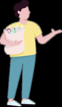 Man holding bag with garbage Illustration
