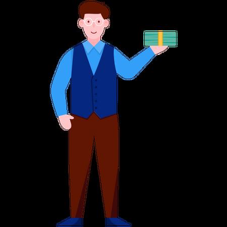 Man Holding Cash Money Illustration