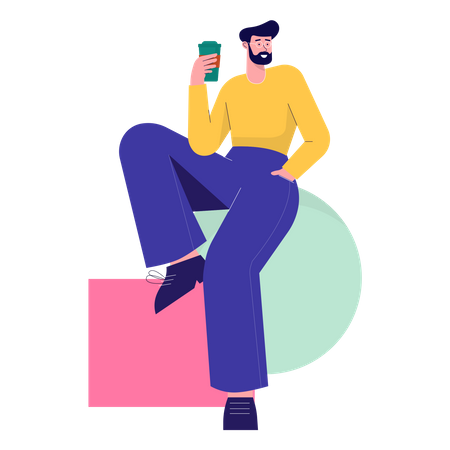 Man holding coffee cup Illustration