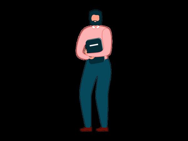 Man holding files Folder Illustration