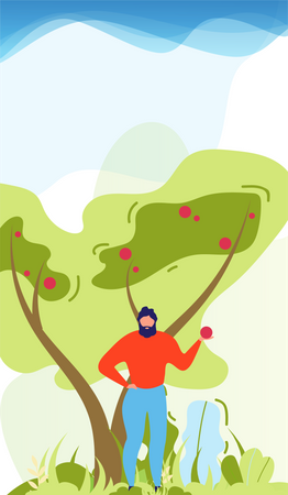 Man holding fruit and standing under tree Illustration