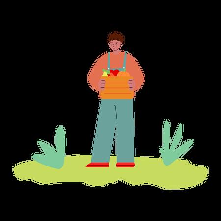 Man holding fruit basket in his hand Illustration
