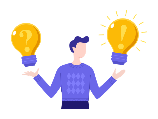 Man holding glowing lightbulbs with question mark and exclamation point on it Illustration