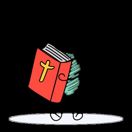Man Holding Holy Bible Illustration