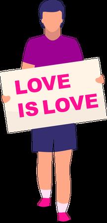 Man holding love is love card Illustration