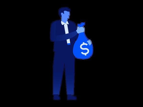 Man holding money bag Illustration