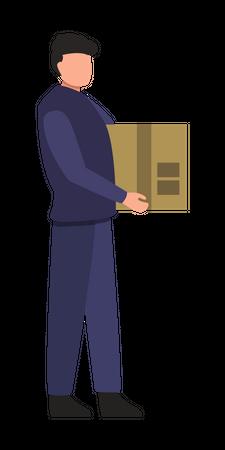 Man Holding order Parcel Illustration