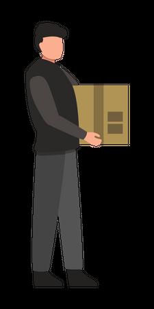 Man Holding Parcel Illustration