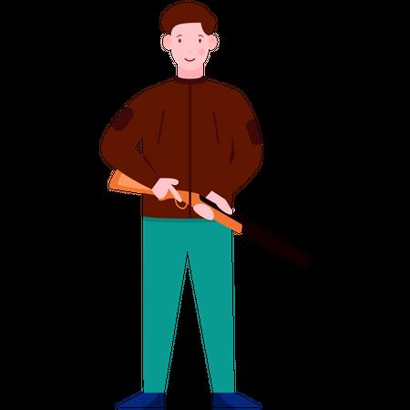 Man holding Rifle Illustration