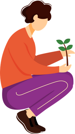 Man holding sprout Illustration